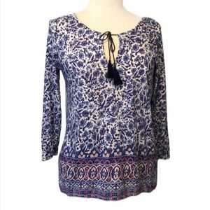 Lucky Brand blue patterned blouse